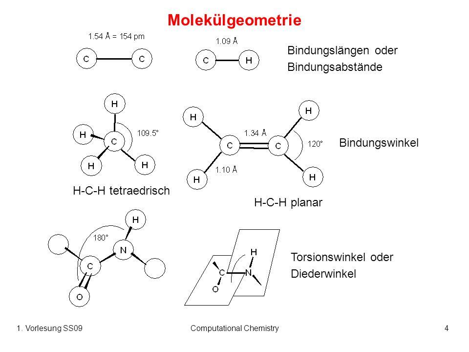 1. Vorlesung SS09Computational Chemistry4 Molekülgeometrie Bindungslängen oder Bindungsabstände Bindungswinkel Torsionswinkel oder Diederwinkel H-C-H