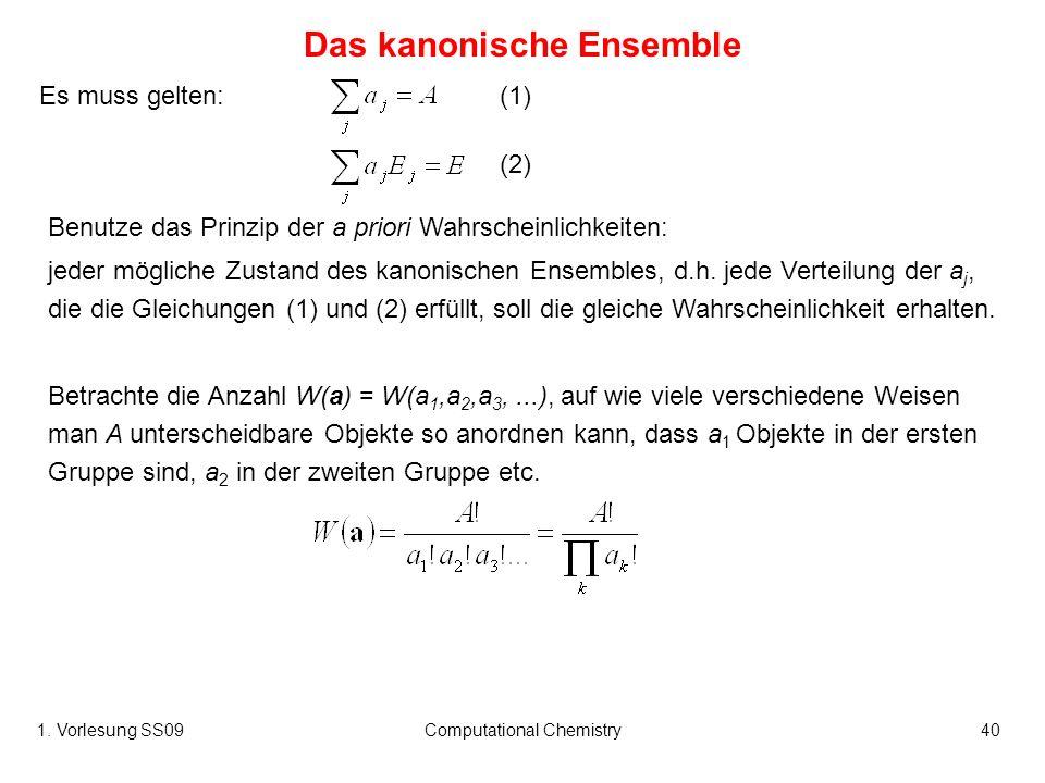 1. Vorlesung SS09Computational Chemistry40 Es muss gelten: Das kanonische Ensemble Benutze das Prinzip der a priori Wahrscheinlichkeiten: jeder möglic