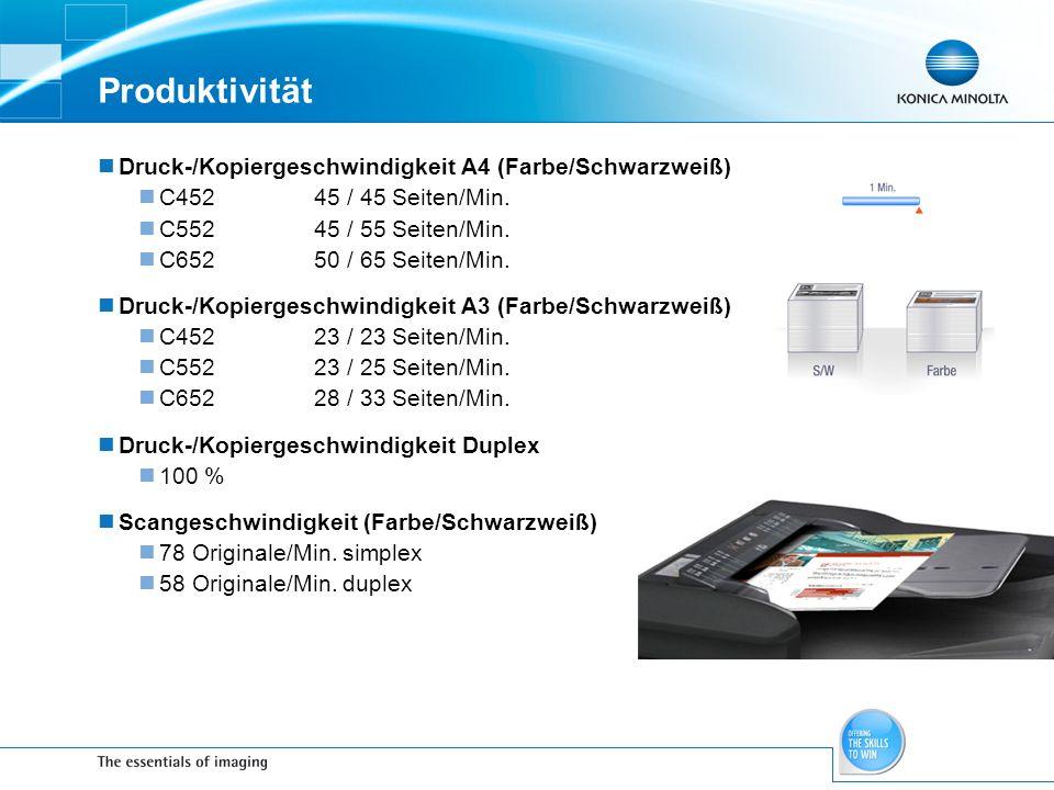 Druck-/Kopiergeschwindigkeit A4 (Farbe/Schwarzweiß) C45245 / 45 Seiten/Min. C55245 / 55 Seiten/Min. C65250 / 65 Seiten/Min. Druck-/Kopiergeschwindigke