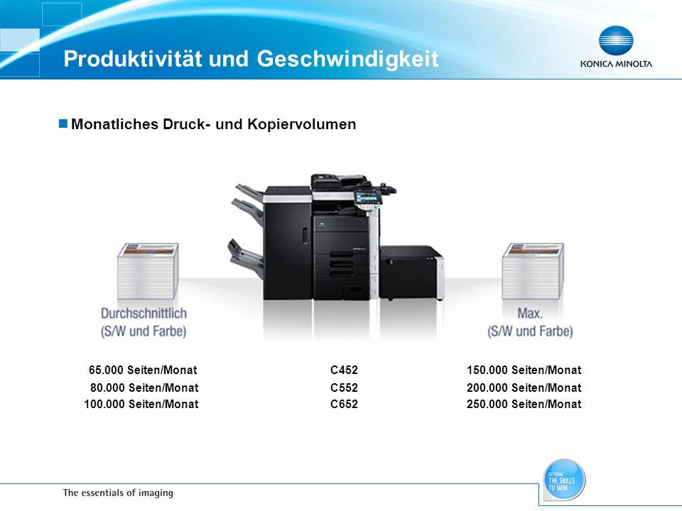 Produktivität und Geschwindigkeit Monatliches Druck- und Kopiervolumen 65.000 Seiten/Monat C452150.000 Seiten/Monat 80.000 Seiten/MonatC552200.000 Sei