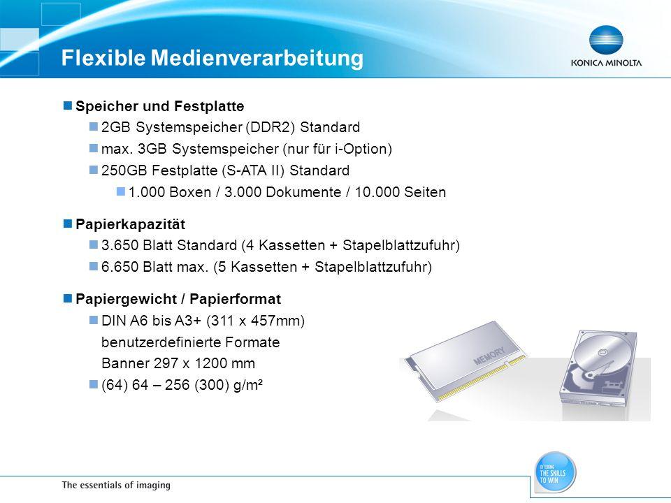 Flexible Medienverarbeitung Speicher und Festplatte 2GB Systemspeicher (DDR2) Standard max. 3GB Systemspeicher (nur für i-Option) 250GB Festplatte (S-