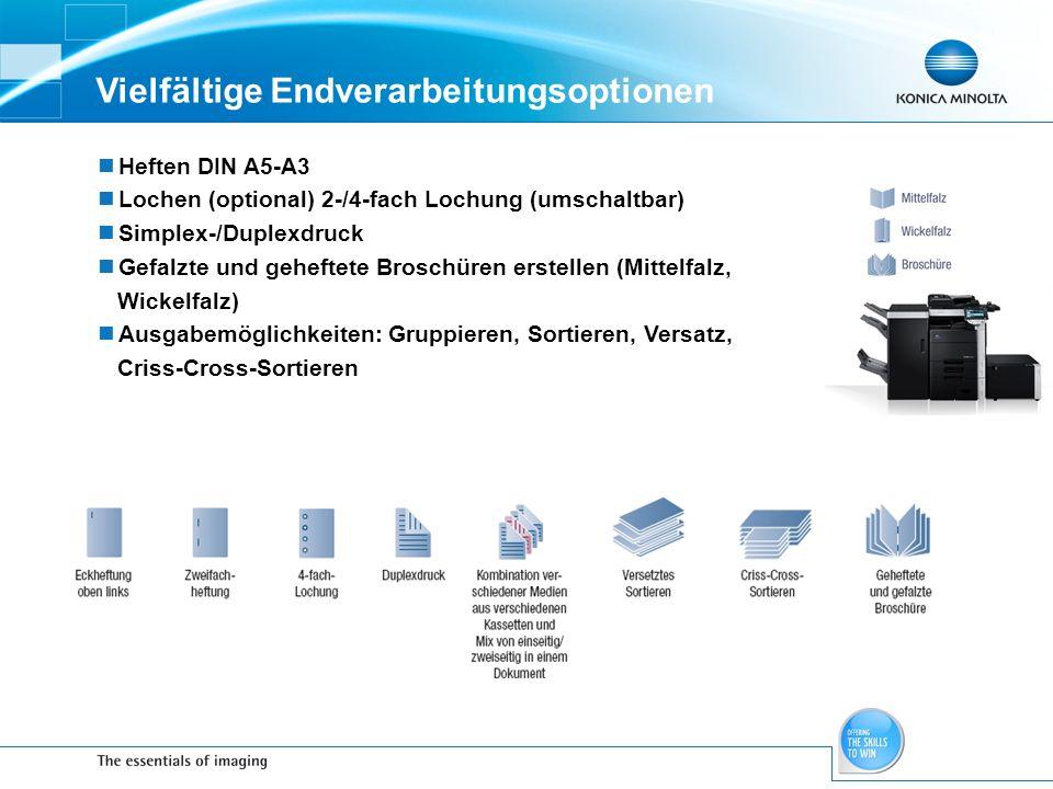 Vielfältige Endverarbeitungsoptionen Heften DIN A5-A3 Lochen (optional) 2-/4-fach Lochung (umschaltbar) Simplex-/Duplexdruck Gefalzte und geheftete Br
