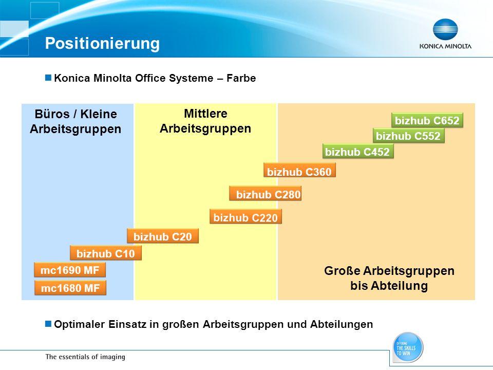Positionierung Konica Minolta Office Systeme – Farbe Optimaler Einsatz in großen Arbeitsgruppen und Abteilungen Mittlere Arbeitsgruppen Büros / Kleine