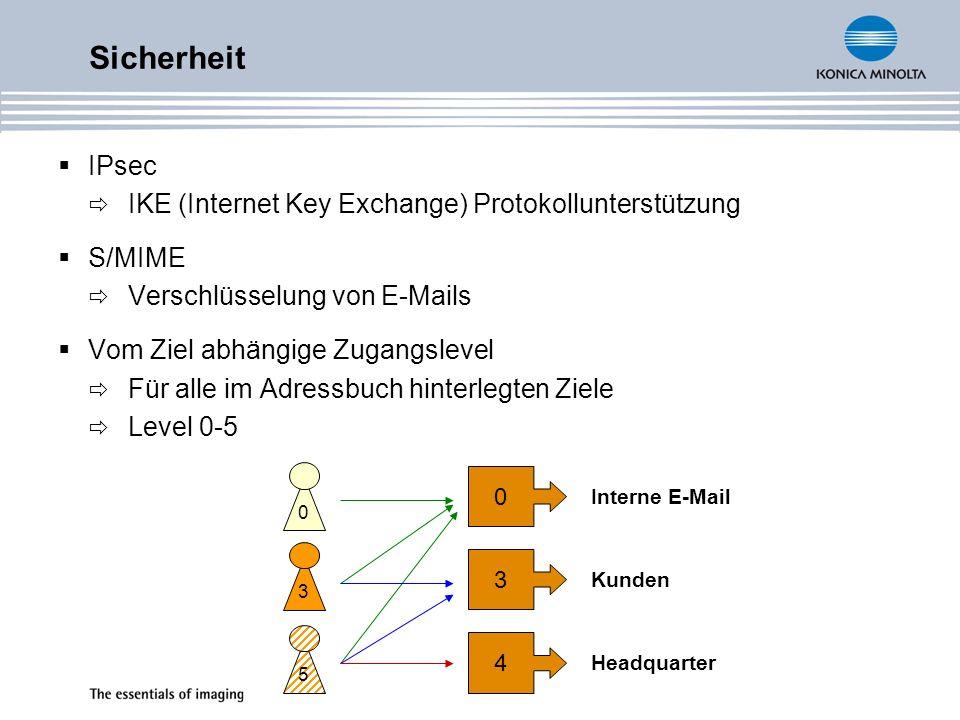 IPsec IKE (Internet Key Exchange) Protokollunterstützung S/MIME Verschlüsselung von E-Mails Vom Ziel abhängige Zugangslevel Für alle im Adressbuch hinterlegten Ziele Level 0-5 Sicherheit 053 0 Interne E-Mail 3 Kunden 4 Headquarter