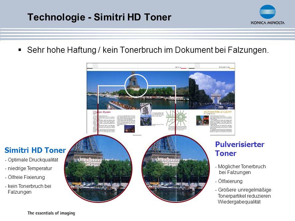 Technologie - Simitri HD Toner Sehr hohe Haftung / kein Tonerbruch im Dokument bei Falzungen.