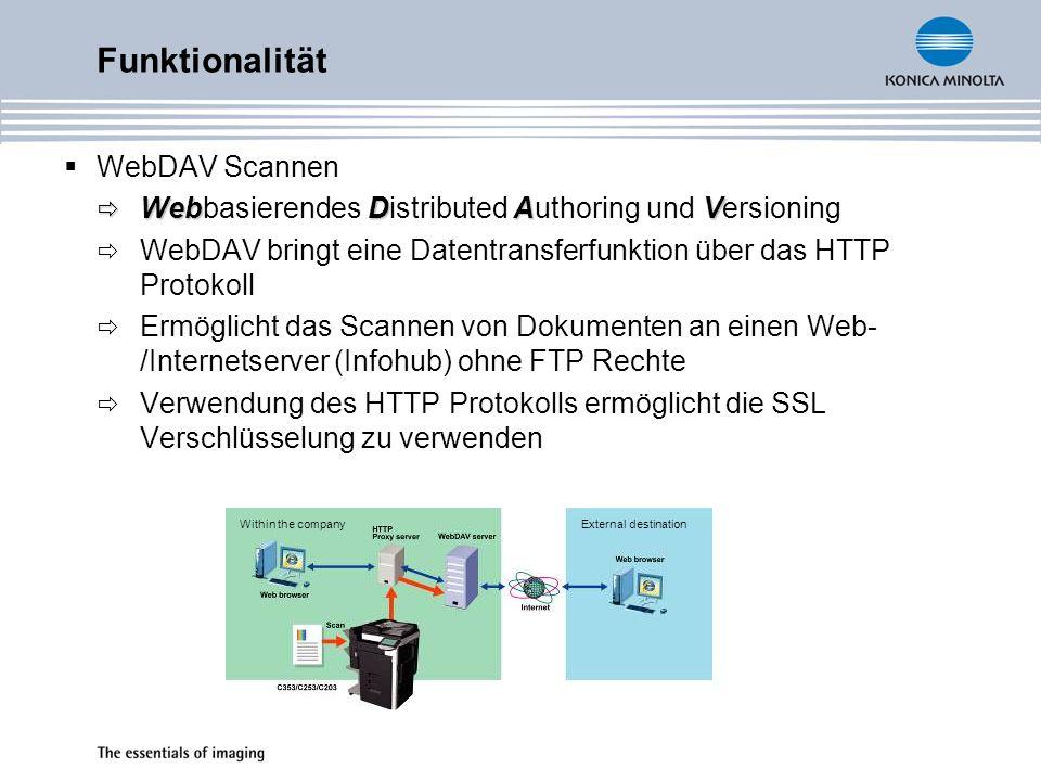 WebDAV Scannen WebDAV Webbasierendes Distributed Authoring und Versioning WebDAV bringt eine Datentransferfunktion über das HTTP Protokoll Ermöglicht das Scannen von Dokumenten an einen Web- /Internetserver (Infohub) ohne FTP Rechte Verwendung des HTTP Protokolls ermöglicht die SSL Verschlüsselung zu verwenden Funktionalität Within the companyExternal destination