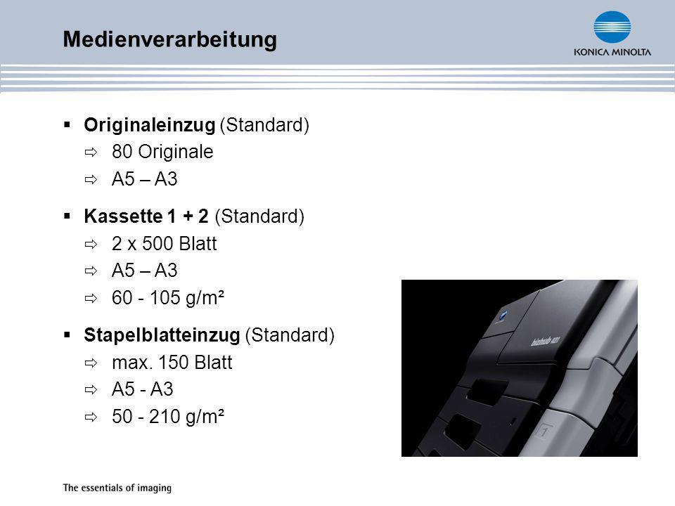 Medienverarbeitung Kassette PC-206 (Zubehör) 2 x 500 Blatt A5 – A3 60 - 105 g/m² Großraumkassette PC-407 (Zubehör) bis 2.500 Blatt A4 60 - 105 g/m² Großraummagazin LU-203 (Zubehör) bis 2.000 Blatt A4 60 - 105 g/m²