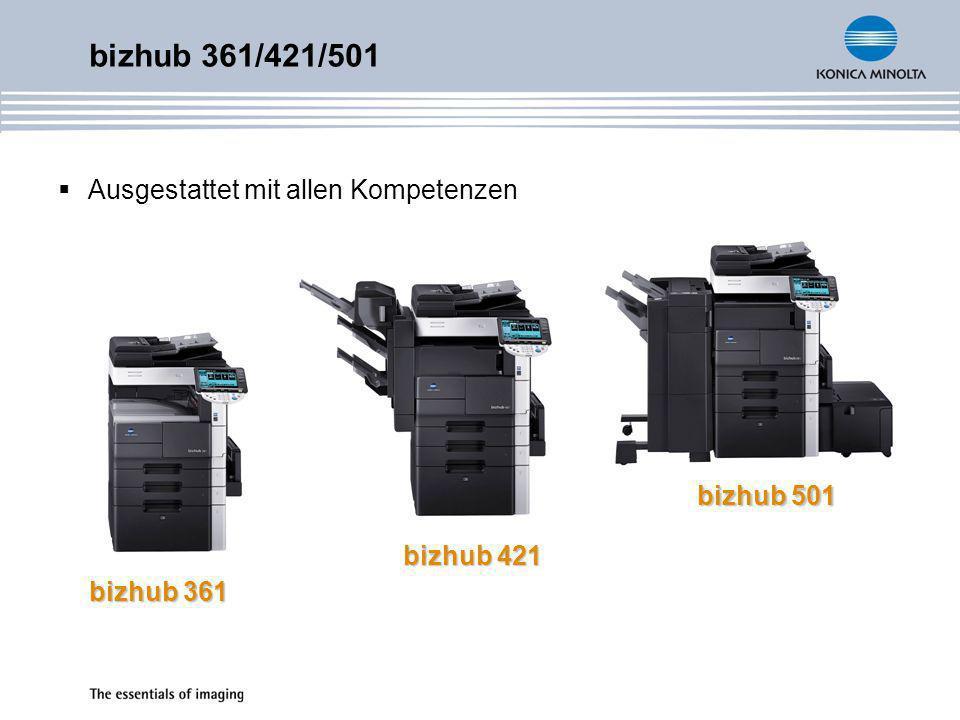 bizhub 361/421/501 Spezifikationen und Konfiguration