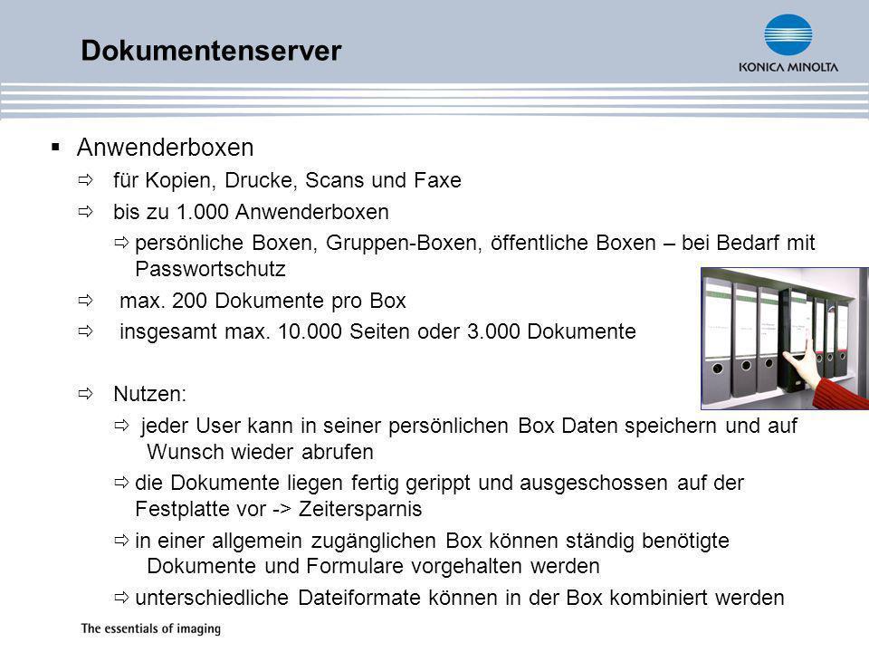 MFP-Display mit Miniaturansicht von Kopier-, Druck, Scan- und Faxdateien in den Anwenderboxen für ein leichtes Finden von Dokumenten Vergrößerung des Vorschaubildes Boxtyp Druckbox für verschlüsselte PDF Dokumente Ermöglicht den Direktdruck von verschlüsselten PDF Dokumenten Eingabe des Passwortes über das Display des MFP Dokumentenserver