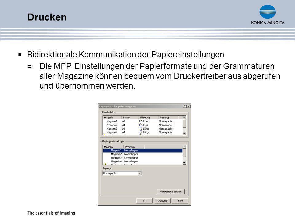 Drucken Postermodus (nur PCL) Ermöglicht Posterdruck (mehrseitige Vergrößerung) für 2x2,3x3 und 4x4 Erweiterter Overlaymodus (nur PCL) Auswahl der Overlayfunktion für 1.Seite, alle, gerade und ungerade