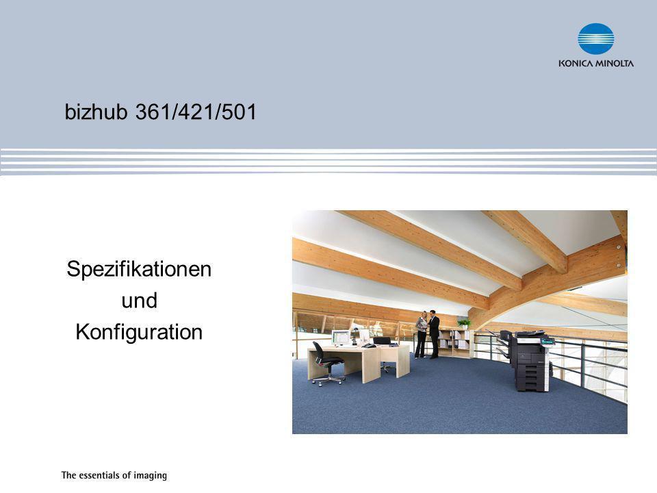 Systeminformationen Laser-System Simitri Polymerisationstoner bizhub Systemplattform & Emperon Standardfunktionen Kopieren Scannen Optionale Funktionen Drucken Faxen Boxfunktion Spezifikationen