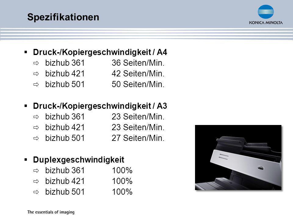 Scangeschwindigkeit A4 (300dpi) bizhub 36170 Originale/Min.