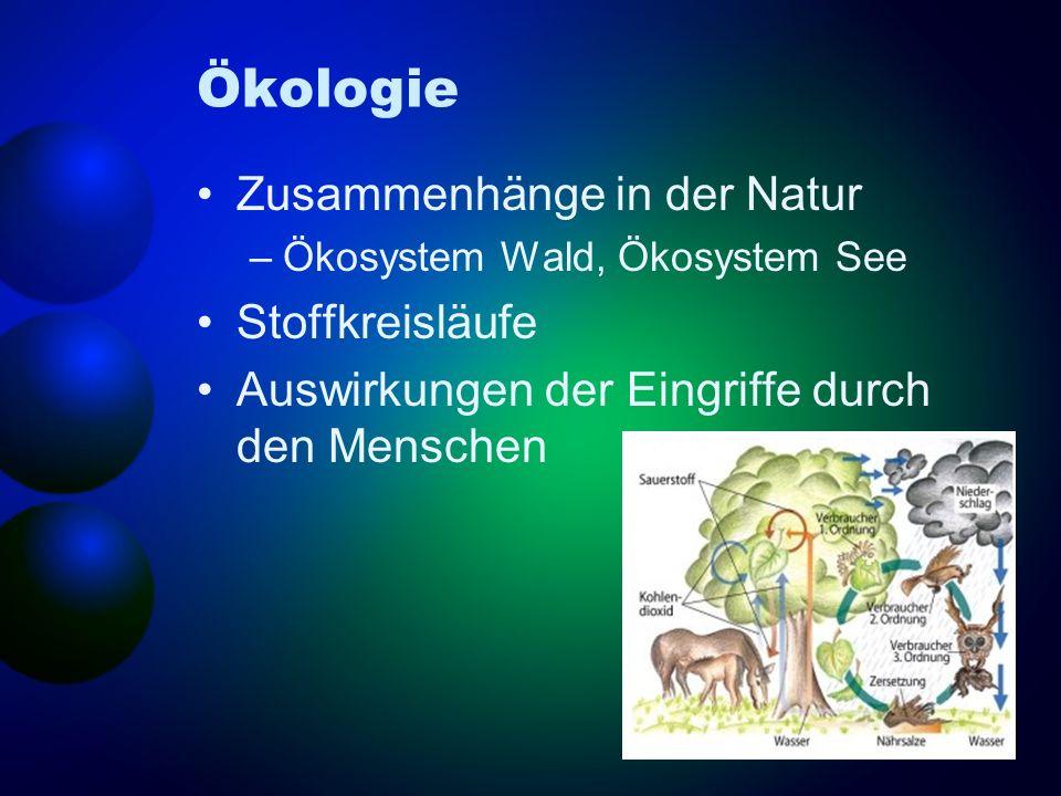 Ökologie Zusammenhänge in der Natur –Ökosystem Wald, Ökosystem See Stoffkreisläufe Auswirkungen der Eingriffe durch den Menschen