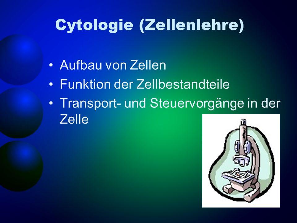 Cytologie (Zellenlehre) Aufbau von Zellen Funktion der Zellbestandteile Transport- und Steuervorgänge in der Zelle