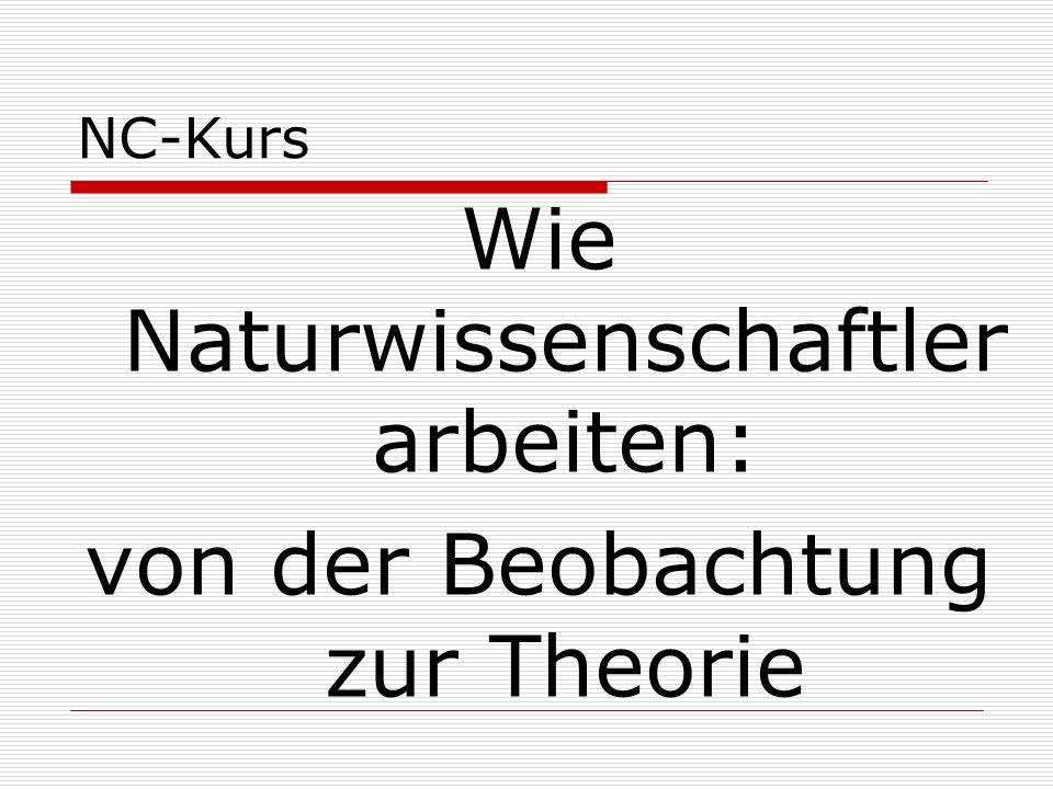 NC-Kurs Wie Naturwissenschaftler arbeiten: von der Beobachtung zur Theorie