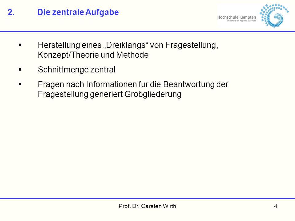 Prof. Dr. Carsten Wirth4 2.Die zentrale Aufgabe Herstellung eines Dreiklangs von Fragestellung, Konzept/Theorie und Methode Schnittmenge zentral Frage