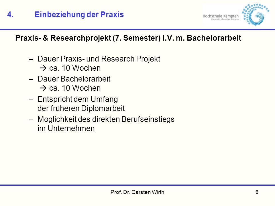 Prof. Dr. Carsten Wirth8 4.Einbeziehung der Praxis Praxis- & Researchprojekt (7. Semester) i.V. m. Bachelorarbeit –Dauer Praxis- und Research Projekt