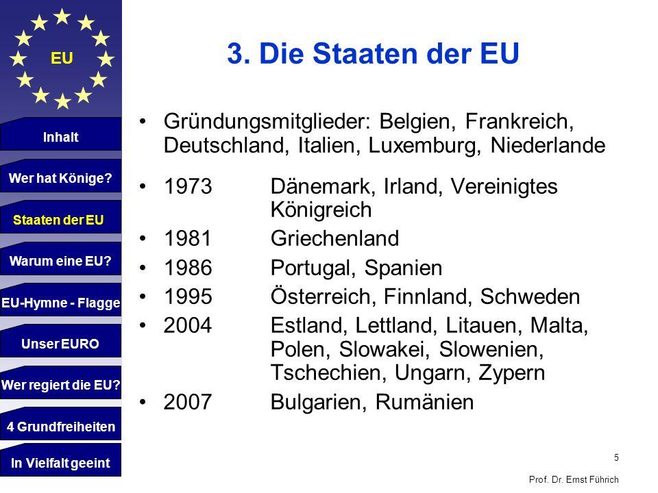5 Prof. Dr. Ernst Führich EU 3. Die Staaten der EU Gründungsmitglieder: Belgien, Frankreich, Deutschland, Italien, Luxemburg, Niederlande 1973 Dänemar