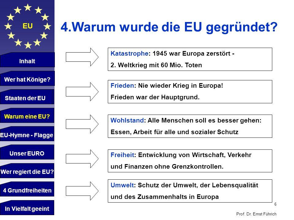 6 Prof. Dr. Ernst Führich EU 4.Warum wurde die EU gegründet? Katastrophe: 1945 war Europa zerstört - 2. Weltkrieg mit 60 Mio. Toten Frieden: Nie wiede