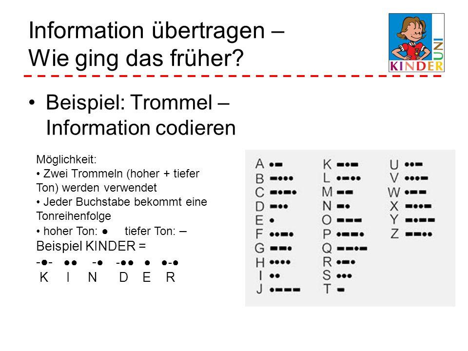 Information übertragen – Wie ging das früher? Beispiel: Trommel – Information codieren Möglichkeit: Zwei Trommeln (hoher + tiefer Ton) werden verwende