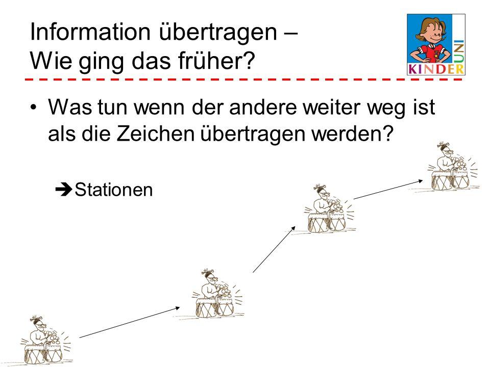 Information übertragen – Wie ging das früher? Was tun wenn der andere weiter weg ist als die Zeichen übertragen werden? Stationen