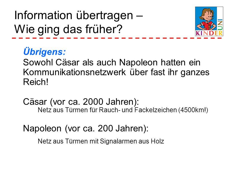 Information übertragen – Wie ging das früher? Übrigens: Sowohl Cäsar als auch Napoleon hatten ein Kommunikationsnetzwerk über fast ihr ganzes Reich! C