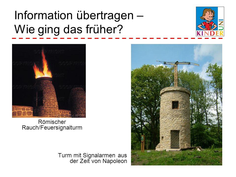 Information übertragen – Wie ging das früher? Turm mit Signalarmen aus der Zeit von Napoleon Römischer Rauch/Feuersignalturm