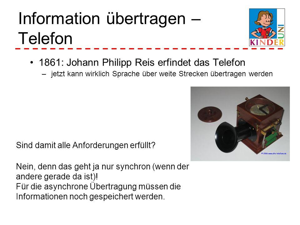 Information übertragen – Telefon 1861: Johann Philipp Reis erfindet das Telefon –jetzt kann wirklich Sprache über weite Strecken übertragen werden Sin