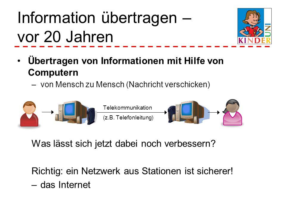 Übertragen von Informationen mit Hilfe von Computern –von Mensch zu Mensch (Nachricht verschicken) Was lässt sich jetzt dabei noch verbessern? Richtig
