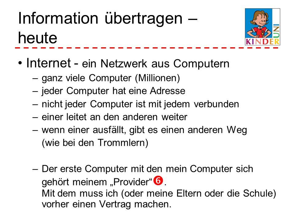 Information übertragen – heute Internet - ein Netzwerk aus Computern –ganz viele Computer (Millionen) –jeder Computer hat eine Adresse –nicht jeder Co
