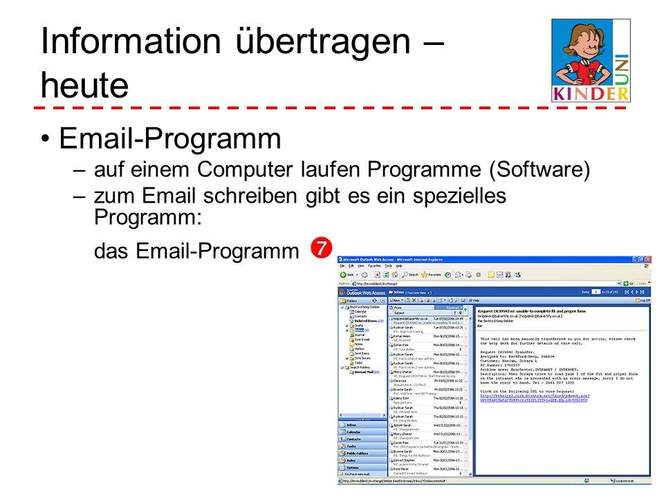 Information übertragen – heute Email-Programm –auf einem Computer laufen Programme (Software) –zum Email schreiben gibt es ein spezielles Programm: da