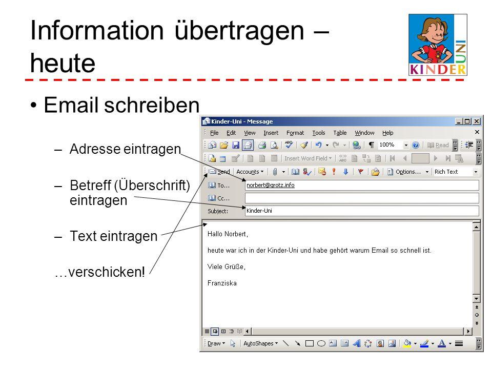 Information übertragen – heute Email schreiben –Adresse eintragen –Betreff (Überschrift) eintragen –Text eintragen …verschicken!