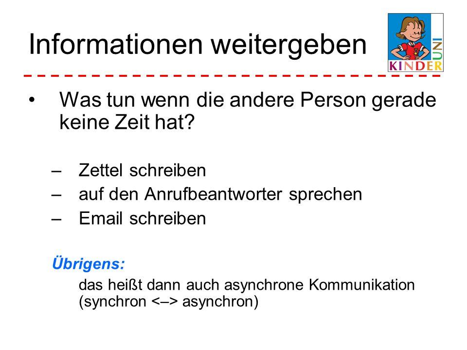 Informationen weitergeben Was tun wenn die andere Person gerade keine Zeit hat? –Zettel schreiben –auf den Anrufbeantworter sprechen –Email schreiben