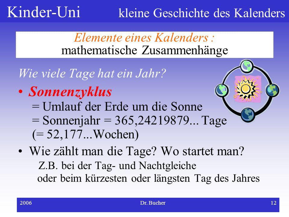 Kinder-Uni kleine Geschichte des Kalenders 2006Dr. Bucher11 Elemente eines Kalenders : mathematische Zusammenhänge Wie viele Tage hat ein Monat? Mondz