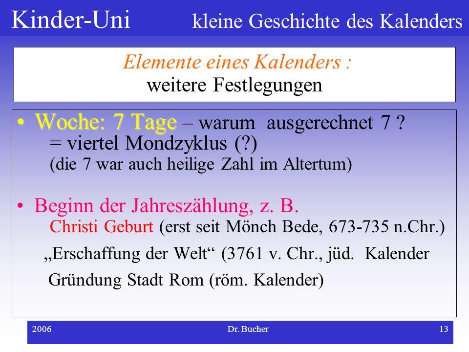 Kinder-Uni kleine Geschichte des Kalenders 2006Dr. Bucher12 Elemente eines Kalenders : mathematische Zusammenhänge Wie viele Tage hat ein Jahr? Sonnen