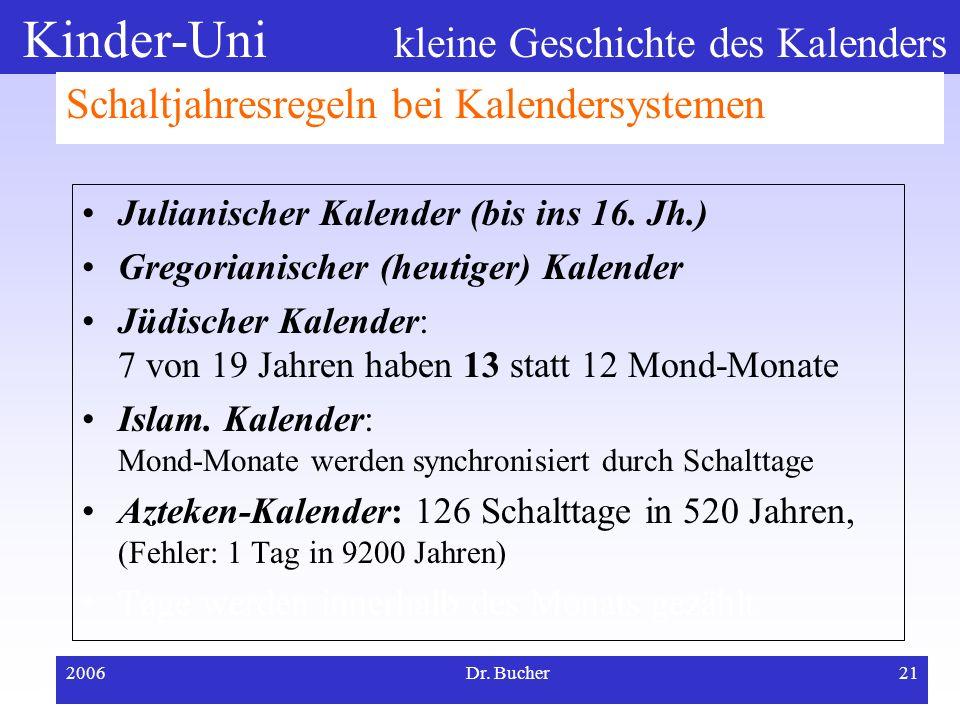 Kinder-Uni kleine Geschichte des Kalenders 2006Dr. Bucher20 Lösung durch Schaltjahresregeln? Tage werden innerhalb des Monats gezählt Da man keine Tag