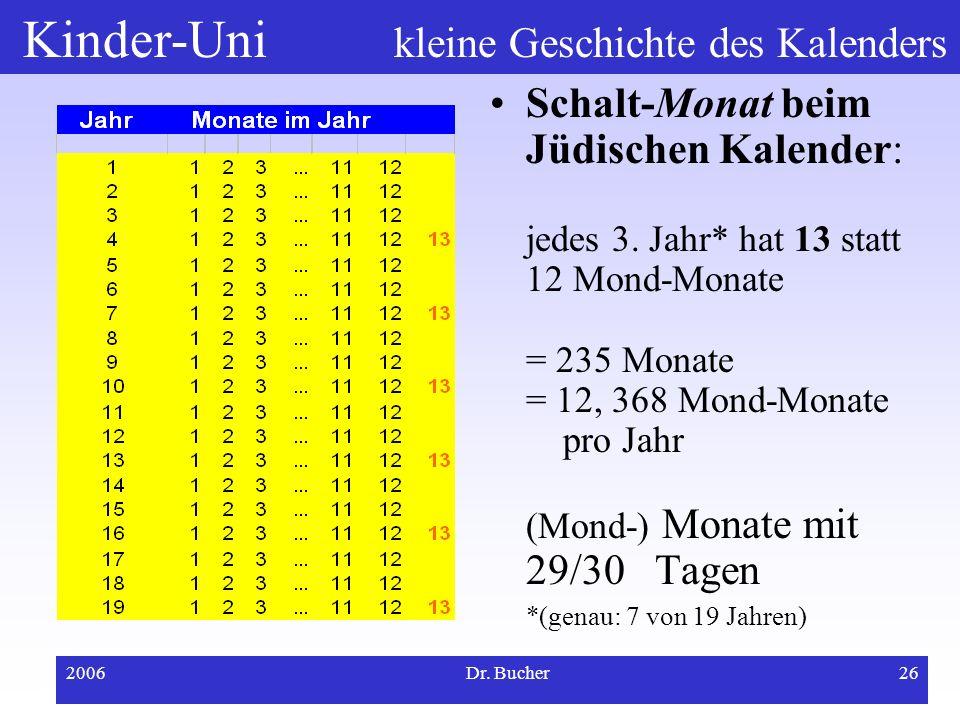 Kinder-Uni kleine Geschichte des Kalenders 2006Dr. Bucher25 Schaltjahresregeln beim islamischen Kalender Islamischer Kalender: strenger Mondkalender,
