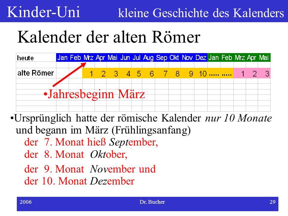 Kinder-Uni kleine Geschichte des Kalenders 2006Dr. Bucher28 Entstehung unseres heutigen Kalenders Gregorianischer Kalender (1582) Kalenderreform durch