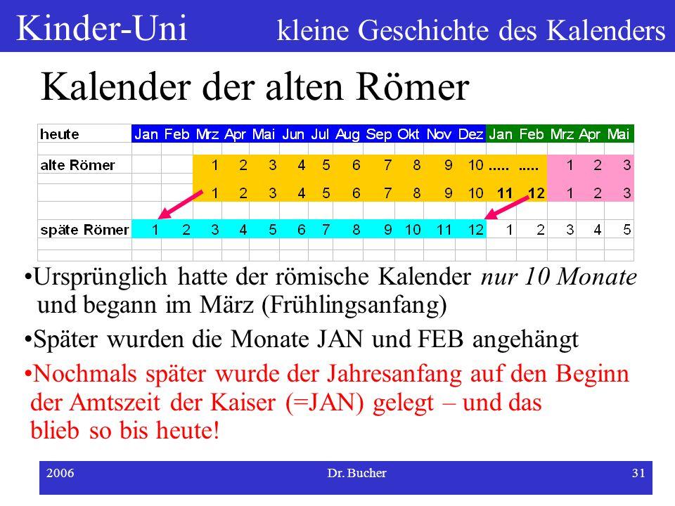 Kinder-Uni kleine Geschichte des Kalenders 2006Dr. Bucher30 Kalender der alten Römer Ursprünglich hatte der römische Kalender nur 10 Monate und begann