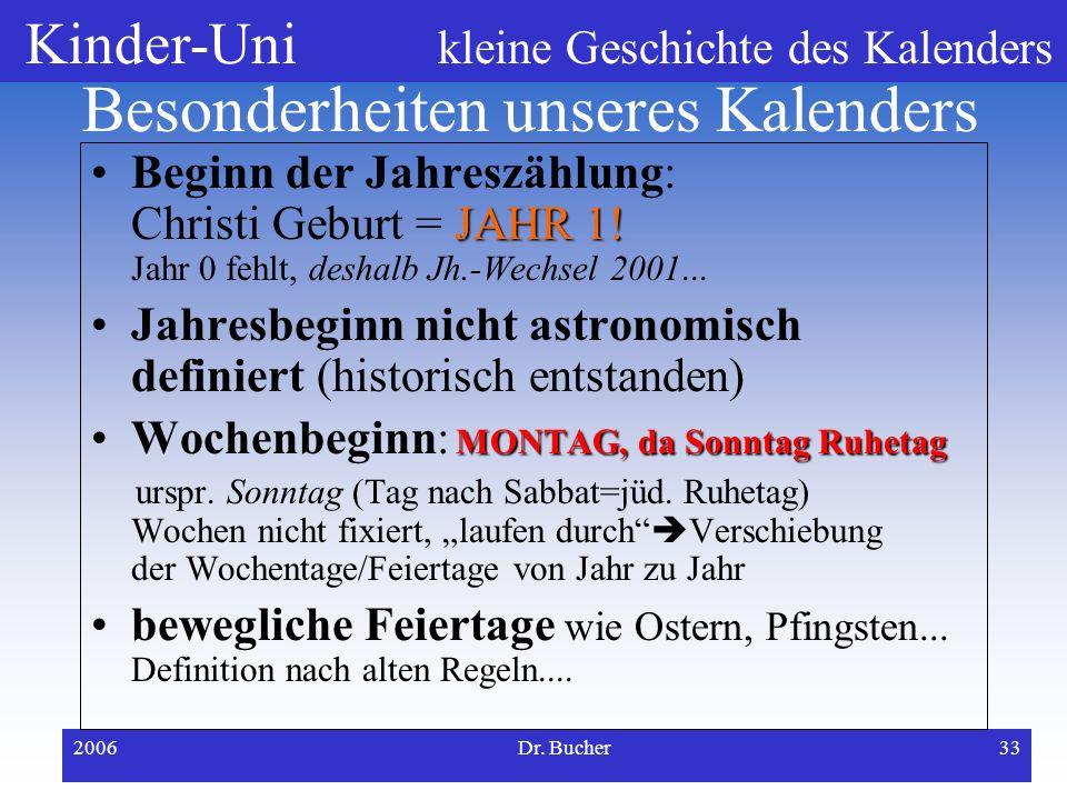Kinder-Uni kleine Geschichte des Kalenders 2006Dr. Bucher32 Kalenderreform durch Papst Gregor 1582 weil Kalender immer noch falsch... Der alte Juliani