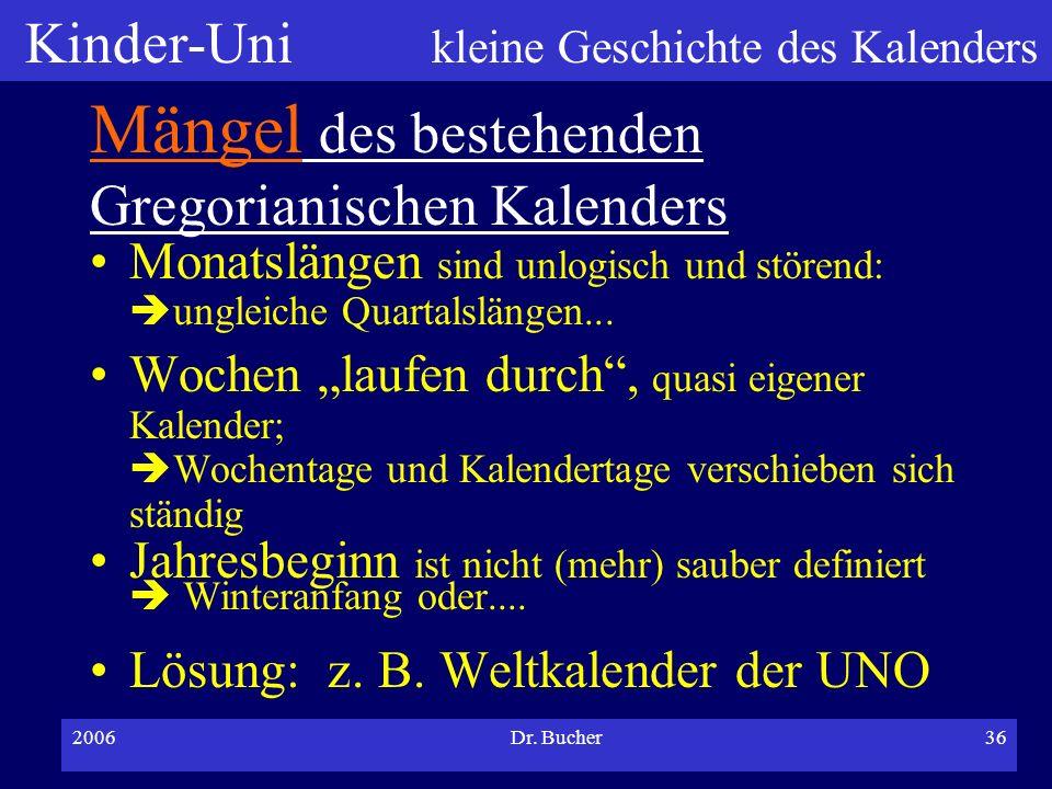 Kinder-Uni kleine Geschichte des Kalenders 2006Dr. Bucher35 Kalender und Aberglauben Freitag, der 13. Ursprung unklar 100-jähriger Kalender Behauptung