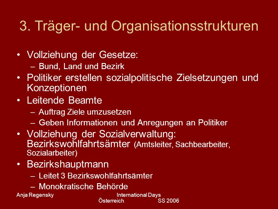 Anja RegenskyInternational Days Österreich SS 2006 3. Träger- und Organisationsstrukturen Vollziehung der Gesetze: –Bund, Land und Bezirk Politiker er