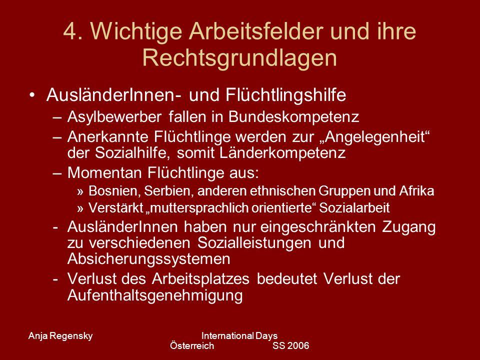 Anja RegenskyInternational Days Österreich SS 2006 4. Wichtige Arbeitsfelder und ihre Rechtsgrundlagen AusländerInnen- und Flüchtlingshilfe –Asylbewer