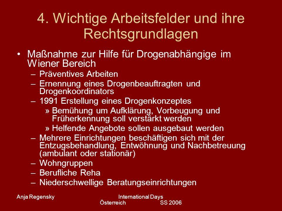 Anja RegenskyInternational Days Österreich SS 2006 4. Wichtige Arbeitsfelder und ihre Rechtsgrundlagen Maßnahme zur Hilfe für Drogenabhängige im Wiene