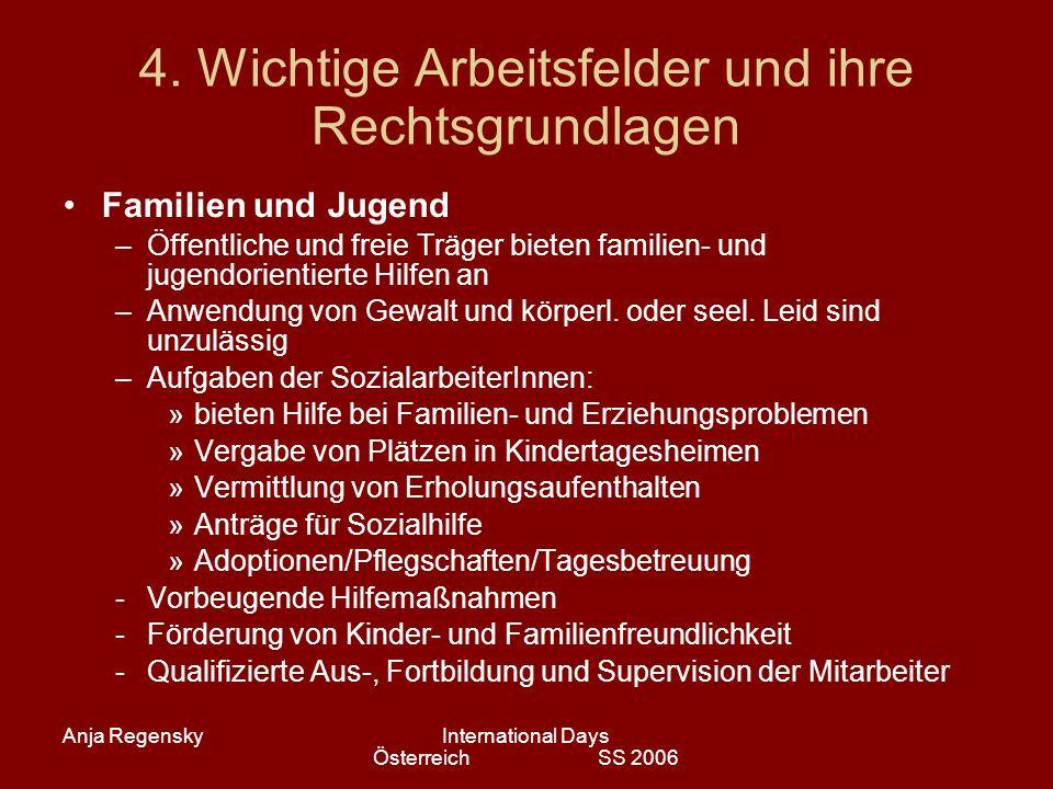 Anja RegenskyInternational Days Österreich SS 2006 4. Wichtige Arbeitsfelder und ihre Rechtsgrundlagen Familien und Jugend –Öffentliche und freie Träg