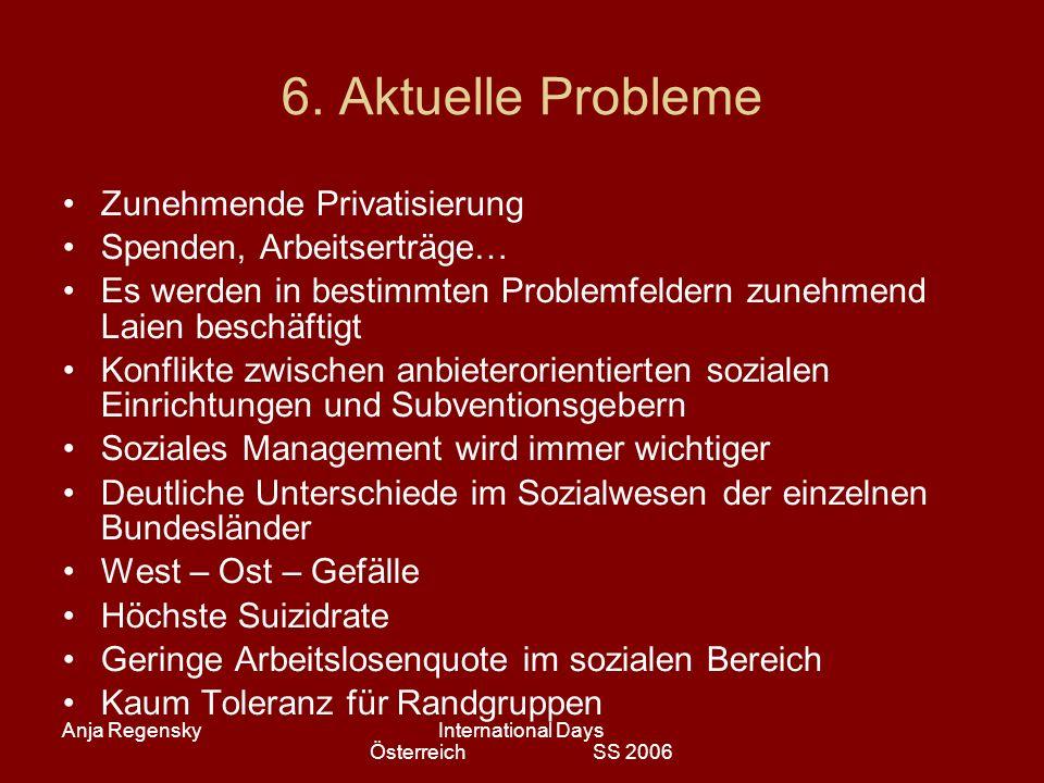 Anja RegenskyInternational Days Österreich SS 2006 6. Aktuelle Probleme Zunehmende Privatisierung Spenden, Arbeitserträge… Es werden in bestimmten Pro