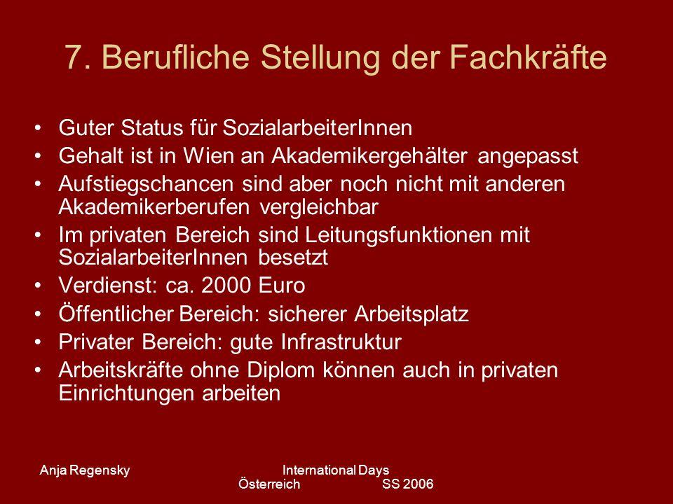 Anja RegenskyInternational Days Österreich SS 2006 7. Berufliche Stellung der Fachkräfte Guter Status für SozialarbeiterInnen Gehalt ist in Wien an Ak