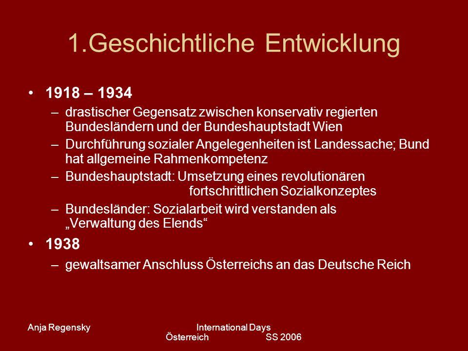 Anja RegenskyInternational Days Österreich SS 2006 1.Geschichtliche Entwicklung 1918 – 1934 –drastischer Gegensatz zwischen konservativ regierten Bund