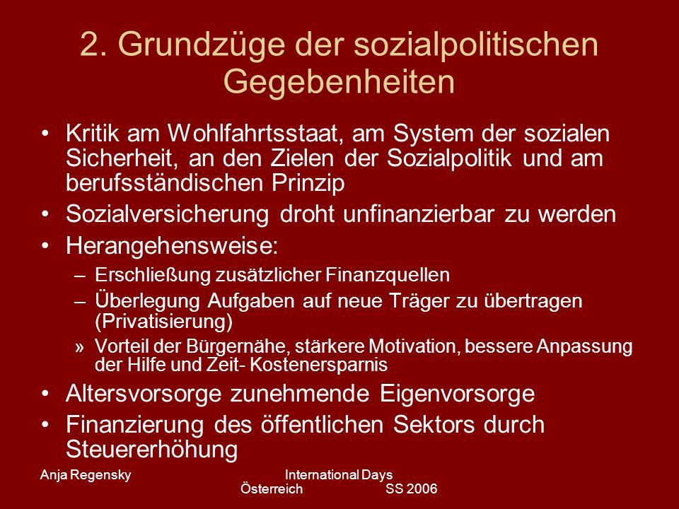 Anja RegenskyInternational Days Österreich SS 2006 2. Grundzüge der sozialpolitischen Gegebenheiten Kritik am Wohlfahrtsstaat, am System der sozialen