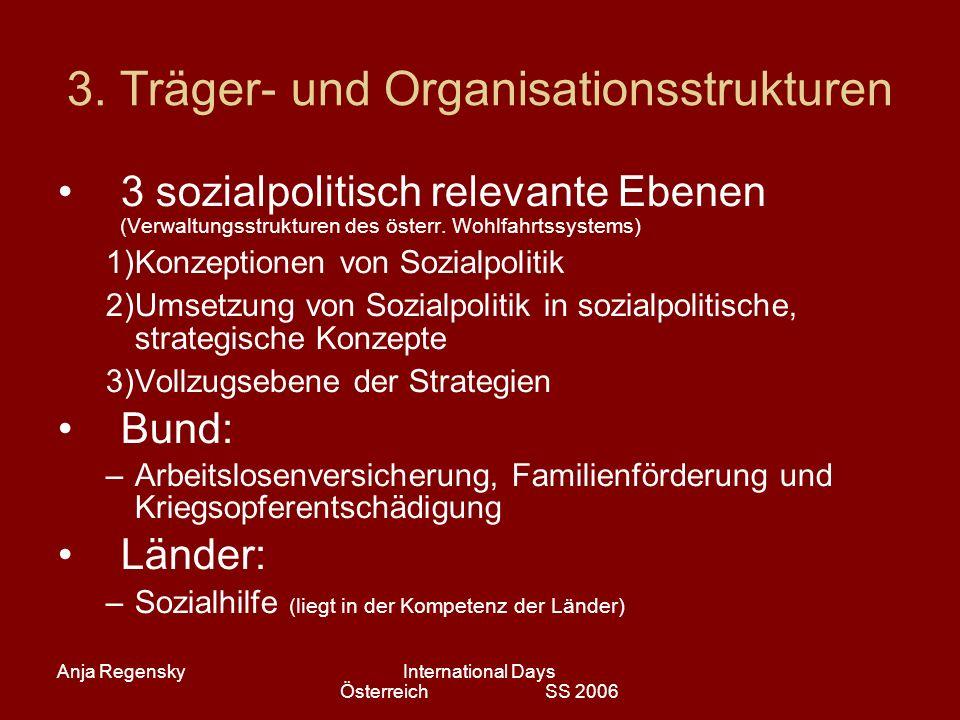 Anja RegenskyInternational Days Österreich SS 2006 3. Träger- und Organisationsstrukturen 3 sozialpolitisch relevante Ebenen (Verwaltungsstrukturen de